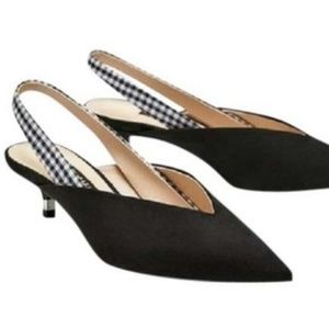 Zara Black Slingback Gingham Sandals
